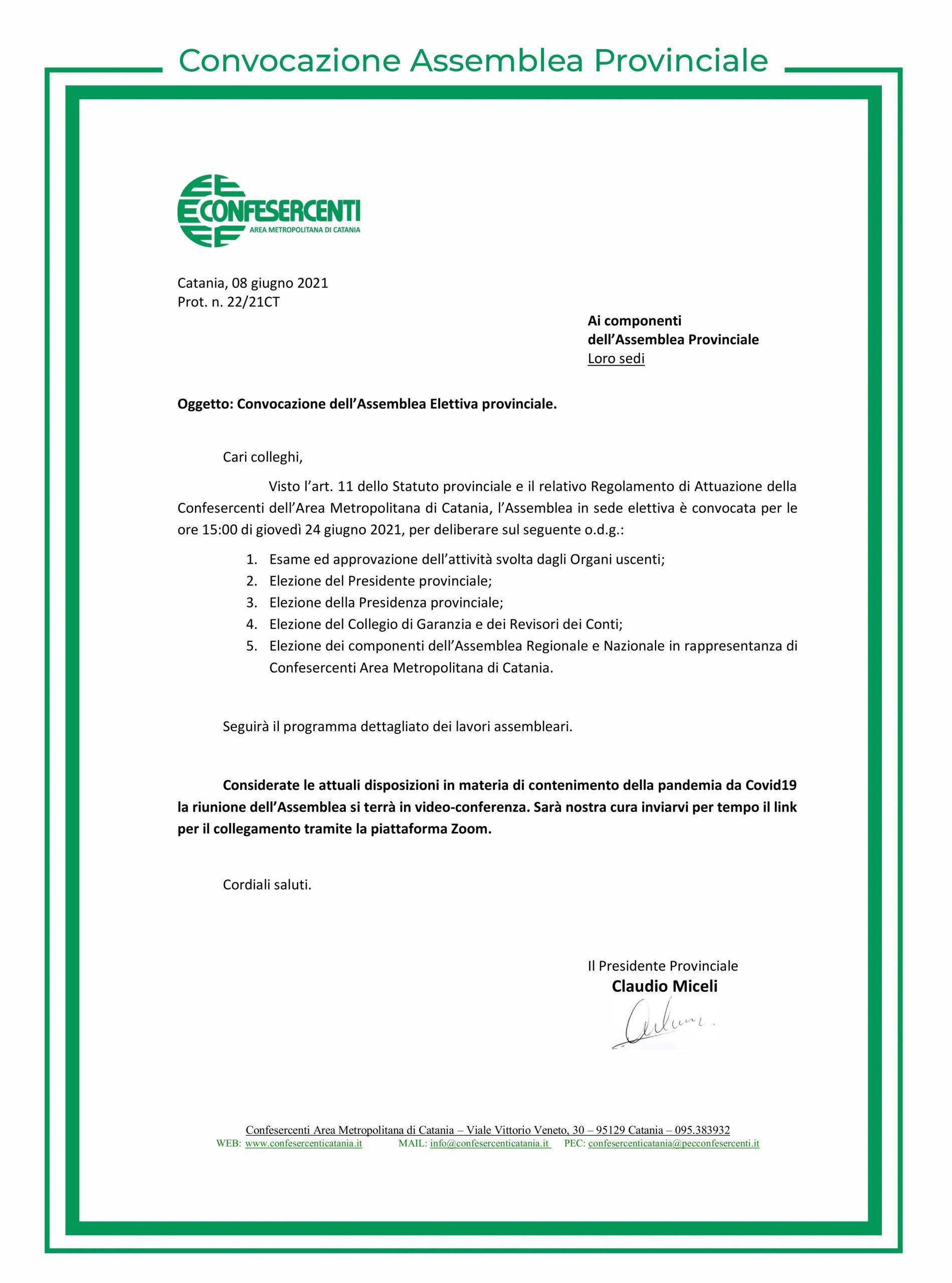 confesercenti catania convocazione assemblea elettiva